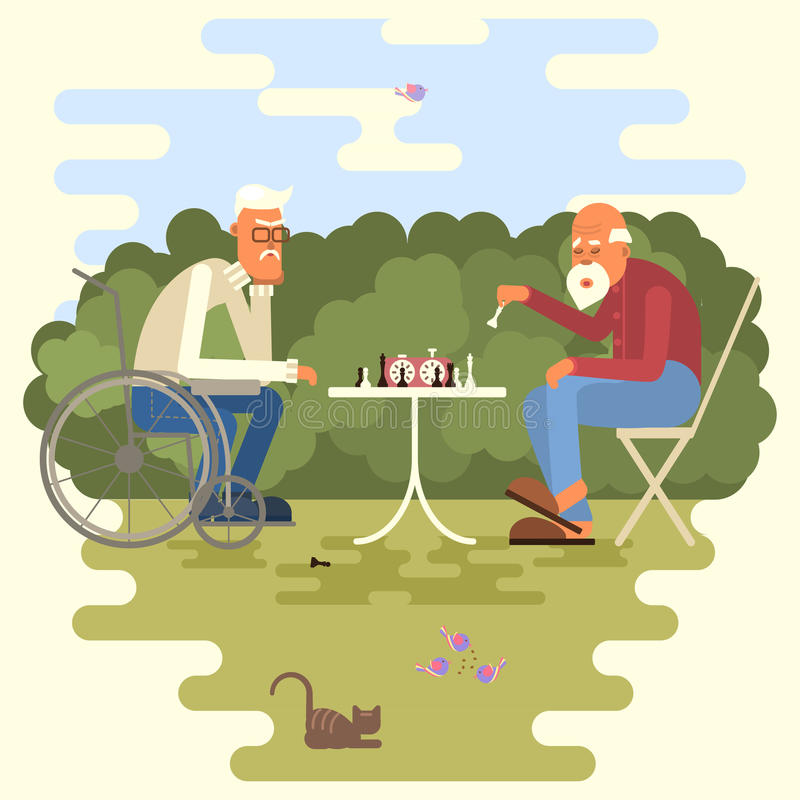 Κινούμενα σχέδια δύο φορέων σκακιού διανυσματική απεικόνιση