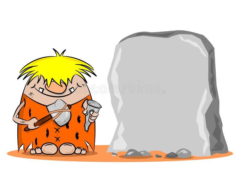 Κινούμενα σχέδια caveman με το σφυρί και τη σμίλη ελεύθερη απεικόνιση δικαιώματος