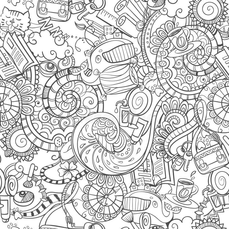 Κινούμενα σχέδια doodles, πρωί στερεότυπο, άνευ ραφής απεικόνιση αποθεμάτων
