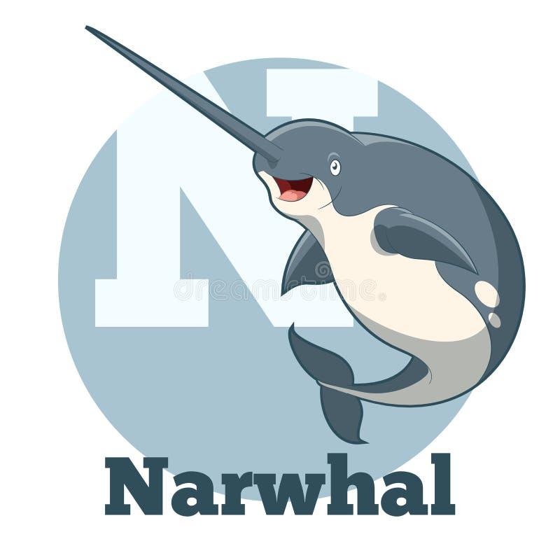Κινούμενα σχέδια Narwhal ABC διανυσματική απεικόνιση