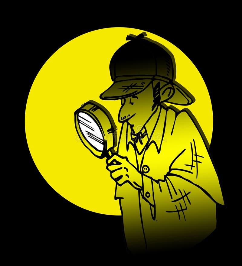 Κινούμενα σχέδια Sherlock Holmes ιδιωτικών αστυνομικών απεικόνιση αποθεμάτων