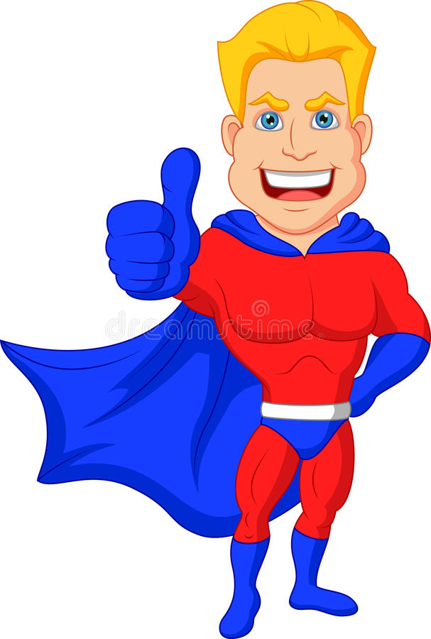 Κινούμενα σχέδια Superhero με τον αντίχειρα επάνω απεικόνιση αποθεμάτων