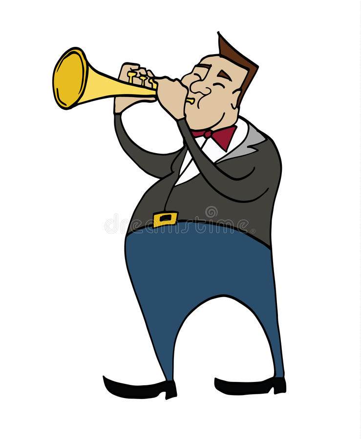 Κινούμενα σχέδια trumpeter Μουσικός που παίζει μια σάλπιγγα ελεύθερη απεικόνιση δικαιώματος