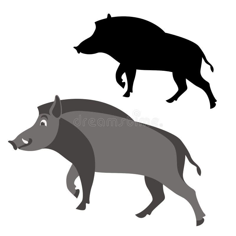 Κινούμενων σχεδίων κάπρων άγριο διανυσματικό σχεδιάγραμμα ύφους απεικόνισης επίπεδο διανυσματική απεικόνιση