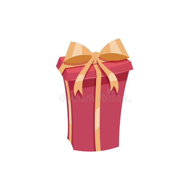 Κινούμενων σχεδίων καθιερώνον τη μόδα κιβώτιο δώρων σχεδίου κόκκινο με τη χρυσά κορδέλλα και το τόξο Διανυσματικό εικονίδιο γενεθ απεικόνιση αποθεμάτων