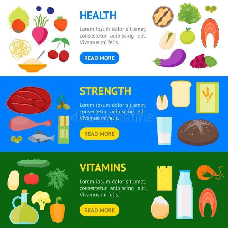 Κινούμενων σχεδίων οριζόντιο σύνολο εμβλημάτων τροφίμων χρώματος υγιές διάνυσμα απεικόνιση αποθεμάτων