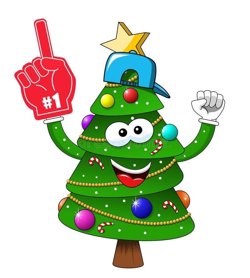 Κινούμενων σχεδίων Χριστουγέννων χριστουγεννιάτικων δέντρων αριθμός ένα ανεμιστήρας υποστηρικτών γαντιών που απομονώνεται ενθουσι απεικόνιση αποθεμάτων