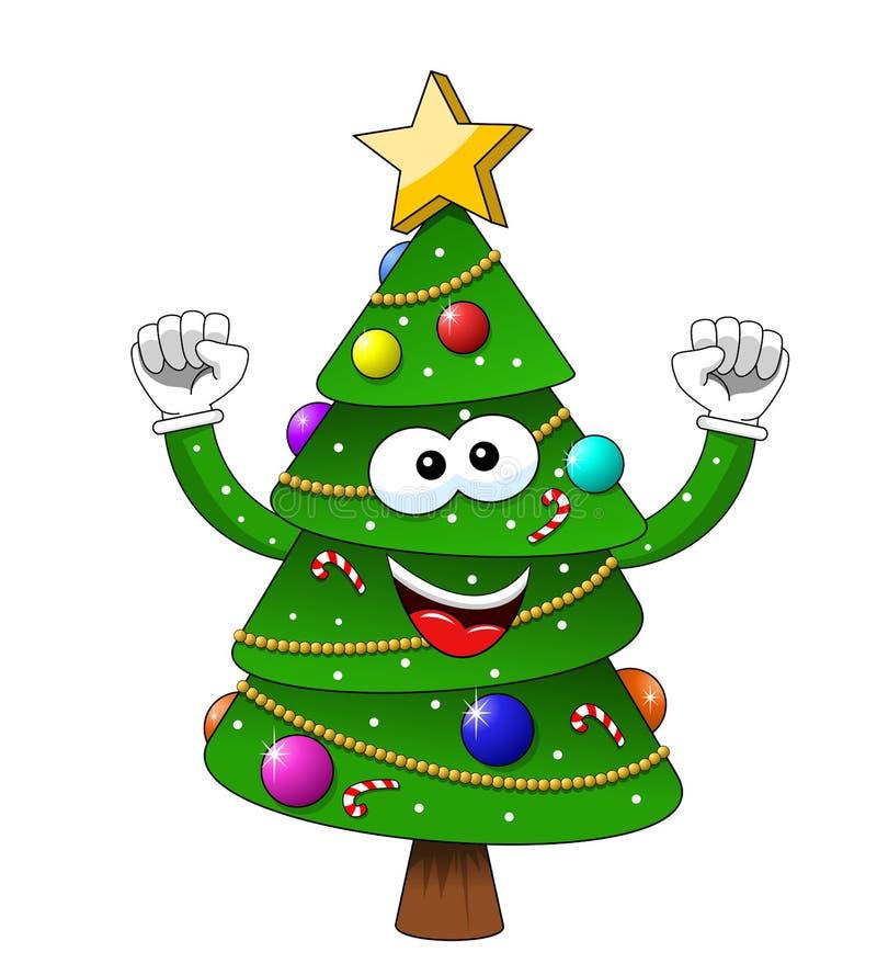 Κινούμενων σχεδίων Χριστουγέννων χριστουγεννιάτικων δέντρων ευτυχία που απομονώνεται ενθουσιώδης ελεύθερη απεικόνιση δικαιώματος