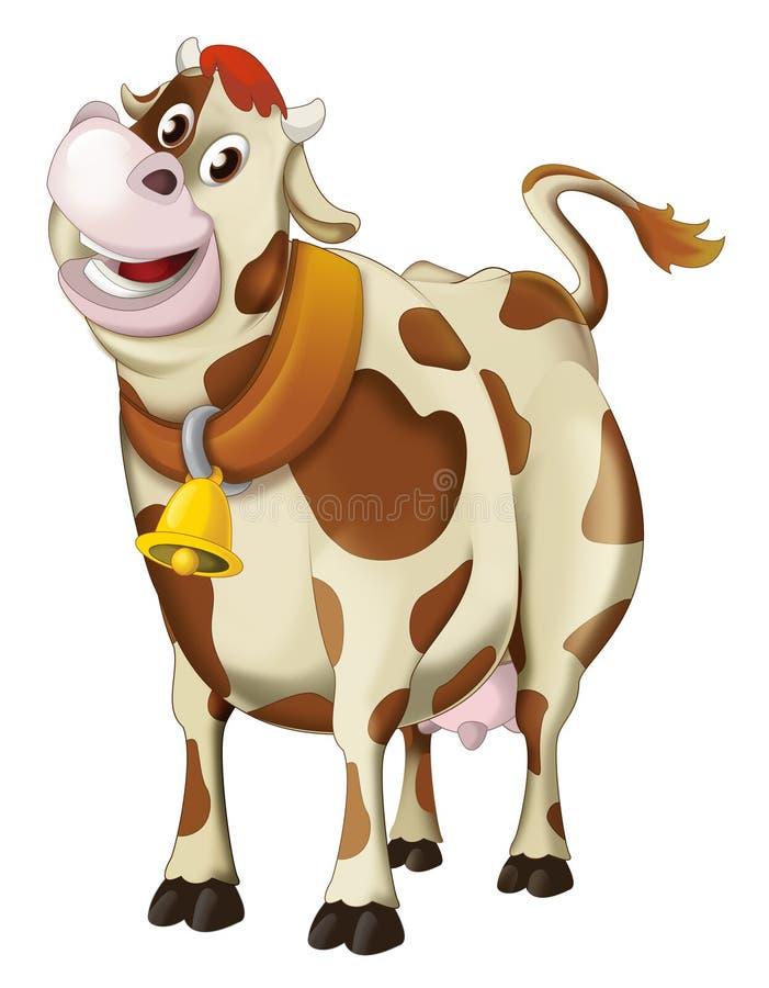 Κινούμενων σχεδίων αγελάδα - που απομονώνεται ευτυχής ελεύθερη απεικόνιση δικαιώματος