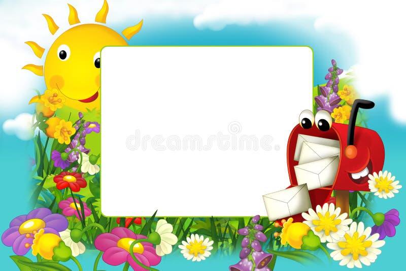 Κινούμενων σχεδίων ηλιόλουστη ημέρα πλαισίων φύσης floral και ευτυχής ταχυδρομική θυρίδα με το διάστημα για το κείμενο διανυσματική απεικόνιση