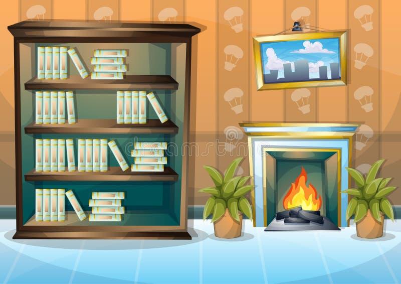 Κινούμενων σχεδίων διανυσματικό δωμάτιο βιβλιοθηκών απεικόνισης εσωτερικό με τα χωρισμένα στρώματα διανυσματική απεικόνιση