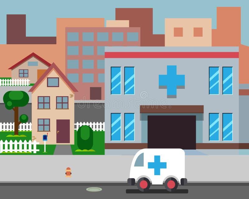 Κινούμενων σχεδίων οδών νοσοκομείων μοντέρνη διανυσματική απεικόνιση σχεδίου υποβάθρου αναδρομική ελεύθερη απεικόνιση δικαιώματος