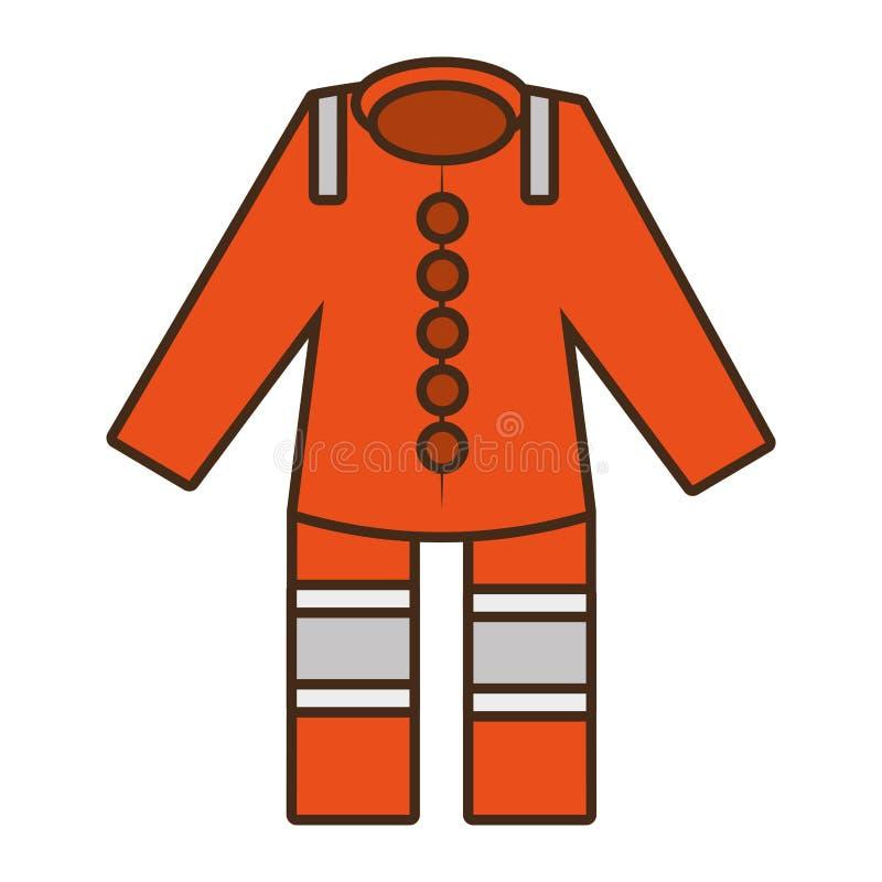 Κινούμενων σχεδίων πορτοκαλί προστατευτικό σχέδιο εργαζομένων κοστουμιών γενικό ομοιόμορφο ελεύθερη απεικόνιση δικαιώματος