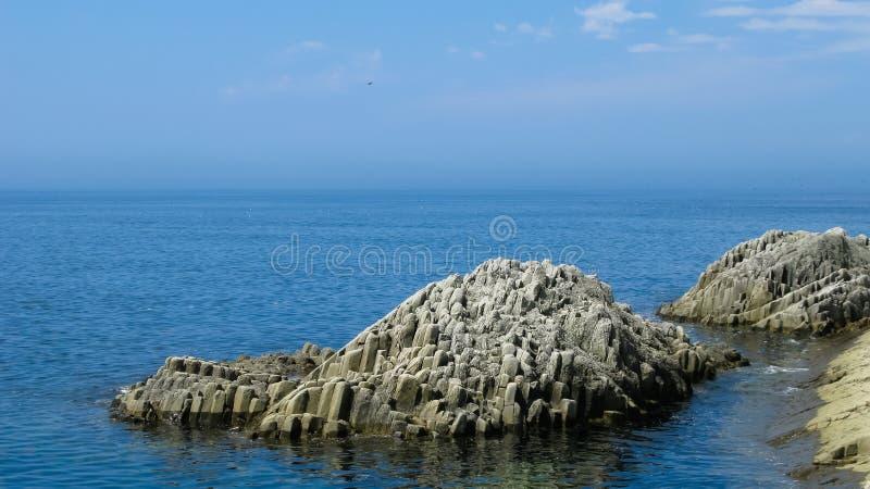 Κιονοειδής σχηματισμός βασαλτών του ακρωτηρίου Stolbchaty σε Kunashir, kuril νησιά, Ρωσία στοκ εικόνες
