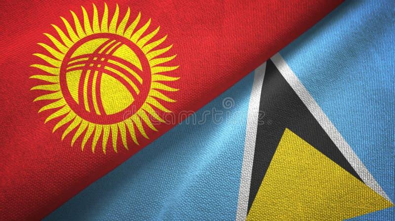 Κιργιστάν και Αγία Λουκία δύο υφαντικό ύφασμα σημαιών, σύσταση υφάσματος ελεύθερη απεικόνιση δικαιώματος