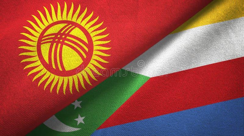 Κιργιστάν και Κομόρες δύο υφαντικό ύφασμα σημαιών, σύσταση υφάσματος διανυσματική απεικόνιση