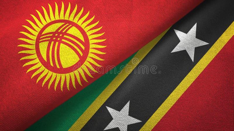Κιργιστάν και Σαιντ Κιτς και Νέβις δύο υφαντικό ύφασμα σημαιών, σύσταση υφάσματος διανυσματική απεικόνιση