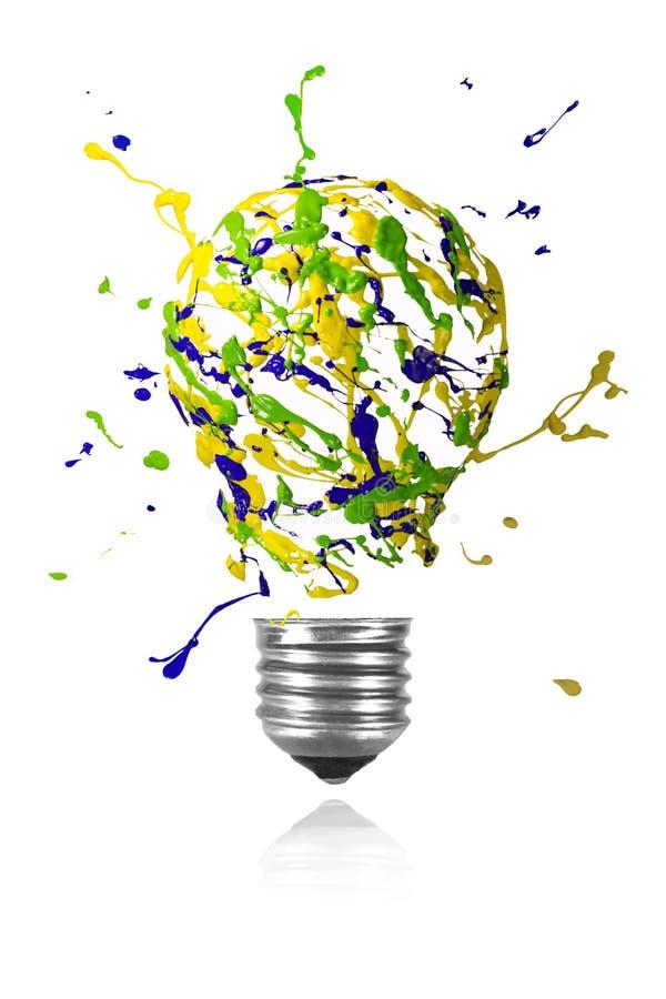 Κιτρινοπράσινη μπλε έκρηξη χρωμάτων που γίνεται τη λάμπα φωτός απεικόνιση αποθεμάτων