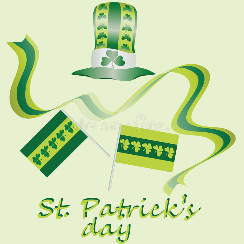 Κιτρινοπράσινο σύνολο για την ημέρα του ST Πάτρικ ` s σχεδίου μορφές στοιχείων που τίθενται διαφορετικές διανυσματικές Τυχερό ελα απεικόνιση αποθεμάτων