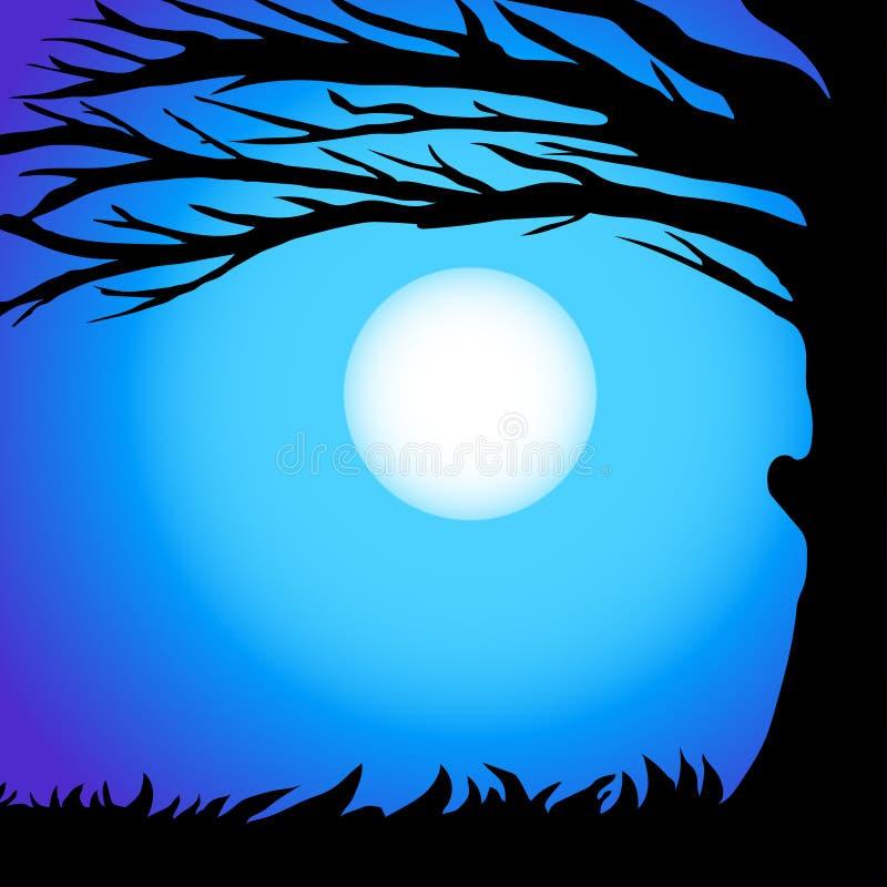 Κλάδοι διασκέδασης siluet του δέντρου ενάντια στο νυχτερινό ουρανό σε μια πανσέληνο ελεύθερη απεικόνιση δικαιώματος