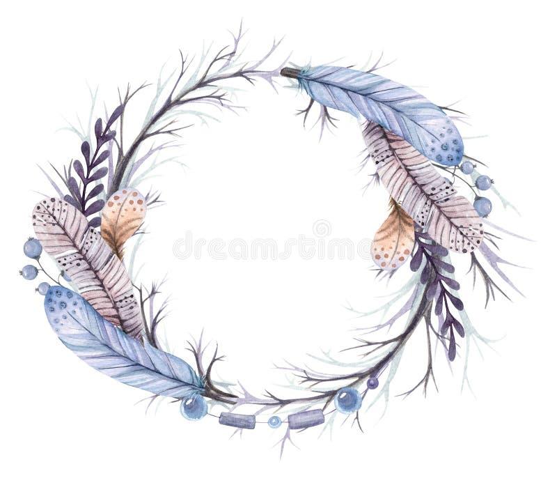 Κλάδοι και φτερά στεφανιών απεικόνισης Watercolor διανυσματική απεικόνιση