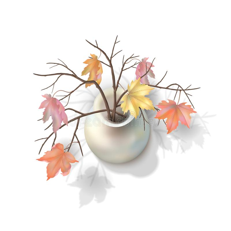 Κλάδοι φθινοπώρου σε ένα βάζο διανυσματική απεικόνιση