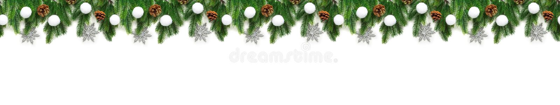 Κλάδοι χριστουγεννιάτικων δέντρων στο άσπρο υπόβαθρο ως σύνορα στοκ εικόνες