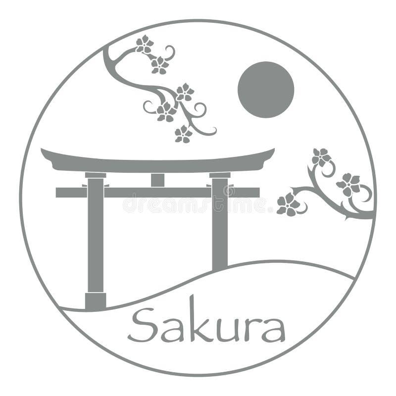 Κλάδοι Sakura και torii, τελετουργικές πύλες E στοκ εικόνες