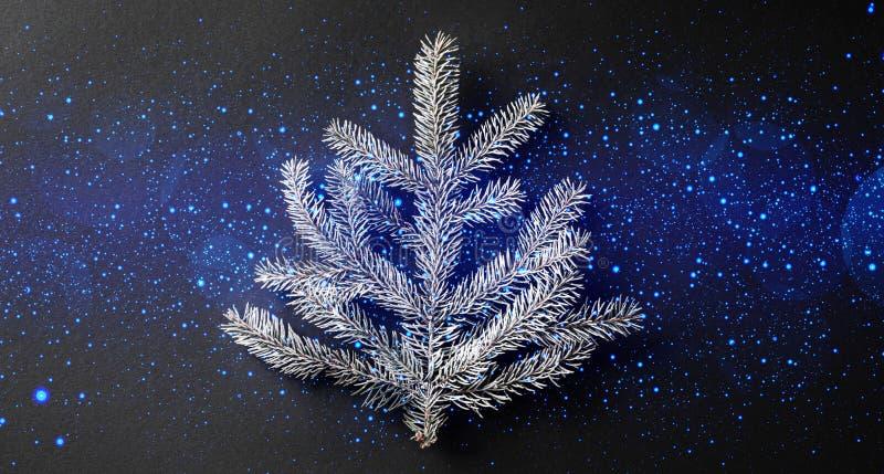 Κλάδος έλατου Χριστουγέννων στο σκοτεινό μαύρο υπόβαθρο με το φως, bokeh, ανάφλεξη στοκ εικόνες