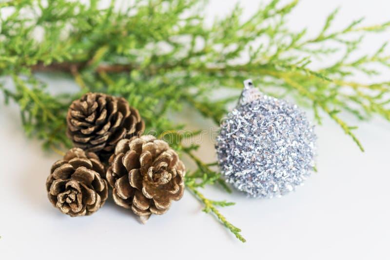 Κλάδος του FIR, τρεις pinecones και tinsel διακόσμηση διακοπών στο whi στοκ εικόνες