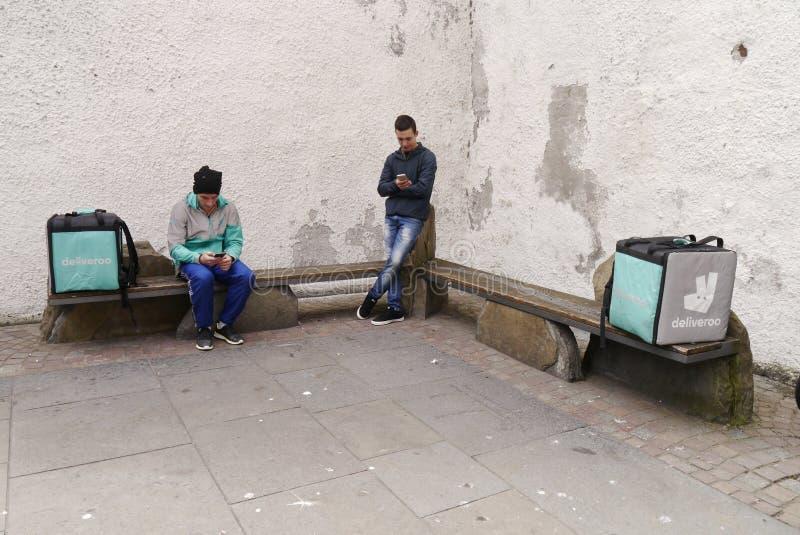 Κλήσεις Deliveroo για την αλλαγή στους νόμους εργασίας στοκ φωτογραφίες