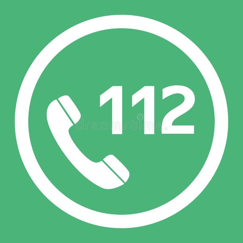 Κλήση έκτακτης ανάγκης αριθμός 112 επίπεδο διανυσματικό εικονίδιο σχεδίου Κουμπί Ιστού σε eps10 απεικόνιση αποθεμάτων