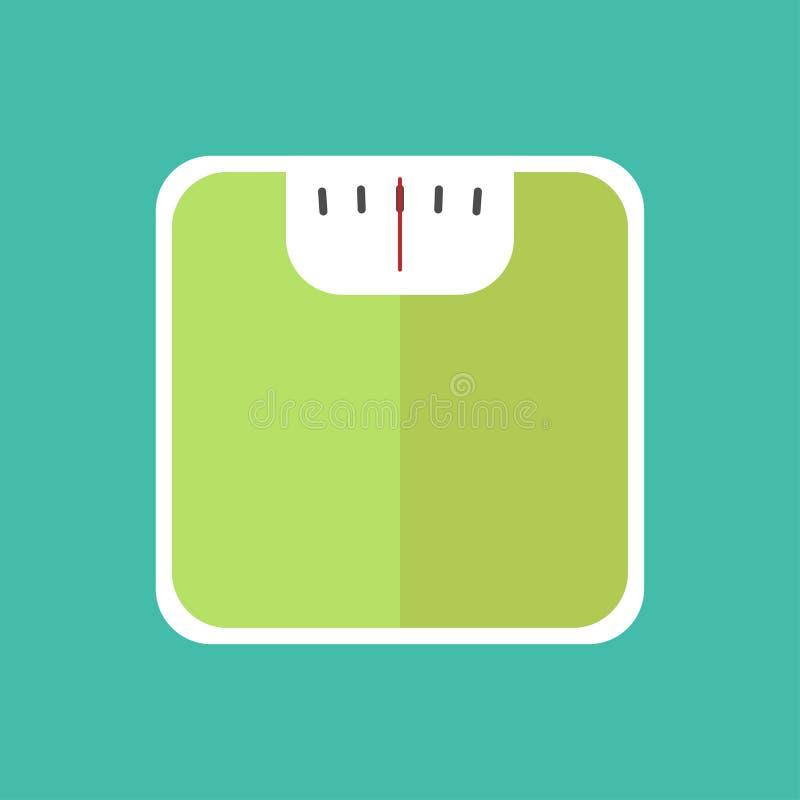 Κλίμακα βάρους στο επίπεδο τυρκουάζ υπόβαθρο σχεδίου απεικόνιση αποθεμάτων