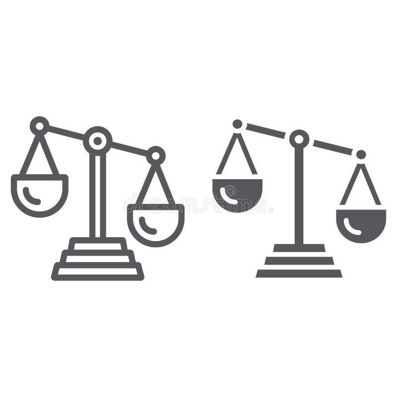Κλίμακα της γραμμής και glyph του εικονιδίου δικαιοσύνης, νόμος και κλίμακα, σημάδι ισορροπίας, διανυσματική γραφική παράσταση, έ απεικόνιση αποθεμάτων