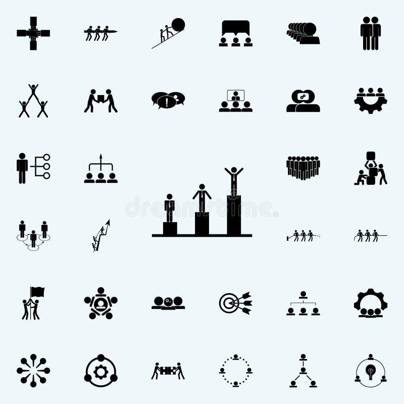κλίμακα του εικονιδίου επιτυχίας Καθολικό εικονιδίων ομαδικής εργασίας που τίθεται για τον Ιστό και κινητό απεικόνιση αποθεμάτων