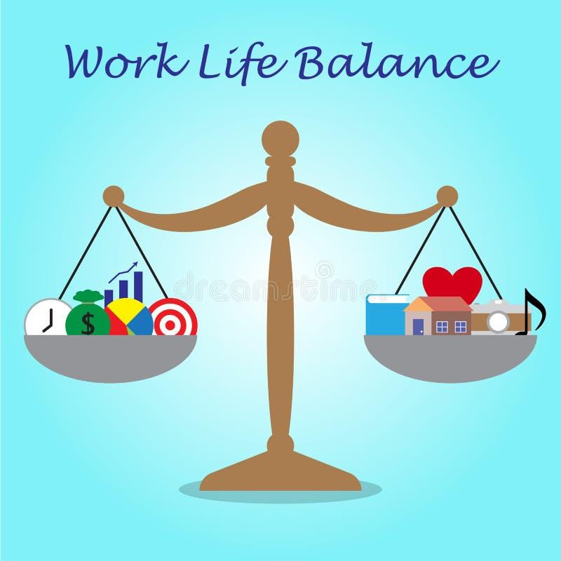 Κλίμακα των εικονιδίων επιχειρήσεων και ελεύθερου χρόνου ισορροπίας ζωής εργασίας ελεύθερη απεικόνιση δικαιώματος