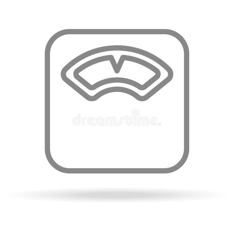 Κλίμακες, βάρος, εικονίδιο μέτρησης στο καθιερώνον τη μόδα λεπτό ύφος γραμμών που απομονώνεται στο άσπρο υπόβαθρο Ιατρικό σύμβολο απεικόνιση αποθεμάτων