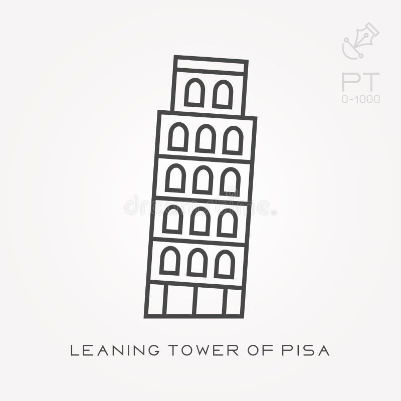 Κλίνοντας πύργος εικονιδίων γραμμών της Πίζας ελεύθερη απεικόνιση δικαιώματος
