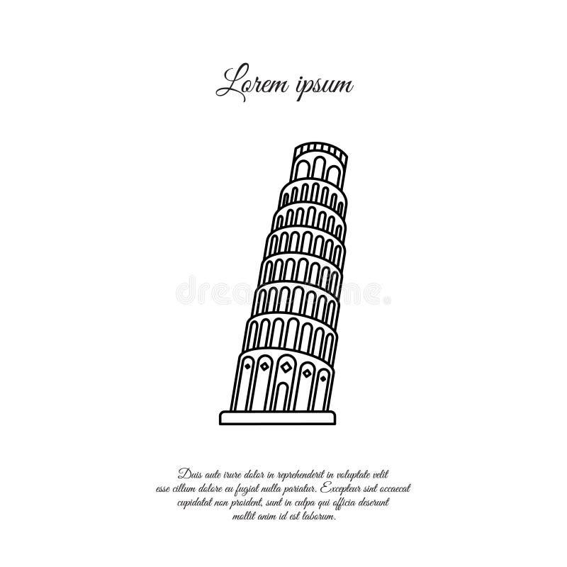 Κλίνοντας πύργος του διανυσματικού εικονιδίου γραμμών της Πίζας, σημάδι διανυσματική απεικόνιση