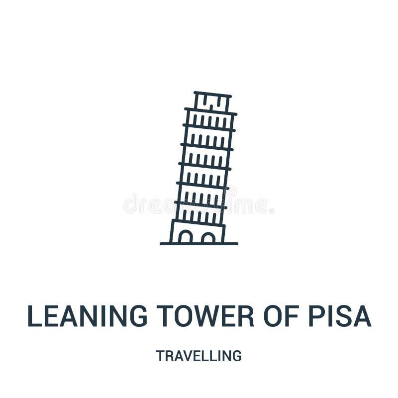 κλίνοντας πύργος του διανύσματος εικονιδίων της Πίζας από τη διακινούμενη συλλογή Λεπτός κλίνοντας πύργος γραμμών της διανυσματικ ελεύθερη απεικόνιση δικαιώματος