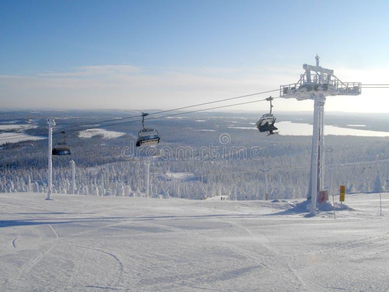 Κλίσεις του χιονοδρομικού κέντρου Ruka Φινλανδία στοκ φωτογραφία