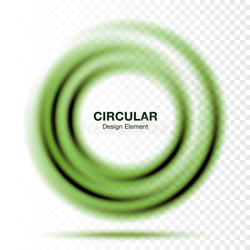 Κλίση δίνης γύρω από το έμβλημα Αφηρημένο πράσινο πλαίσιο κύκλων στροβίλου που απομονώνεται στο διαφανές υπόβαθρο διάνυσμα ελεύθερη απεικόνιση δικαιώματος