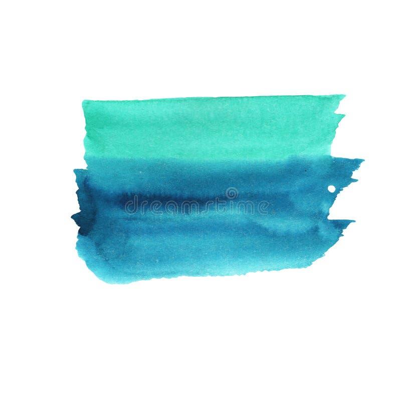 Κλίση watercolor απεικόνισης από τη σμάραγδο στο μπλε σε ένα άσπρο υπόβαθρο, ομαλή μετάβαση διανυσματική απεικόνιση