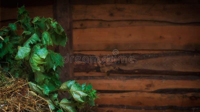 Κλαδιά σφενδάμνου και σανό σε ξύλινα τοιχώματα στοκ φωτογραφίες