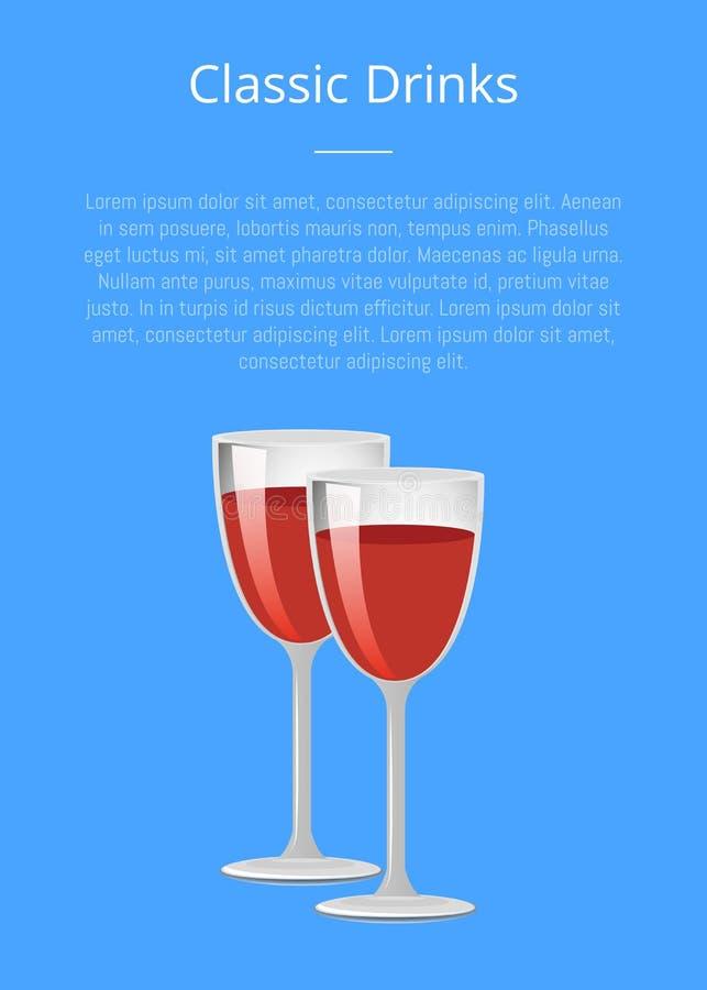 Κλασικά γυαλιά CHAMPAGNE αφισών κόκκινου κρασιού ποτών διανυσματική απεικόνιση