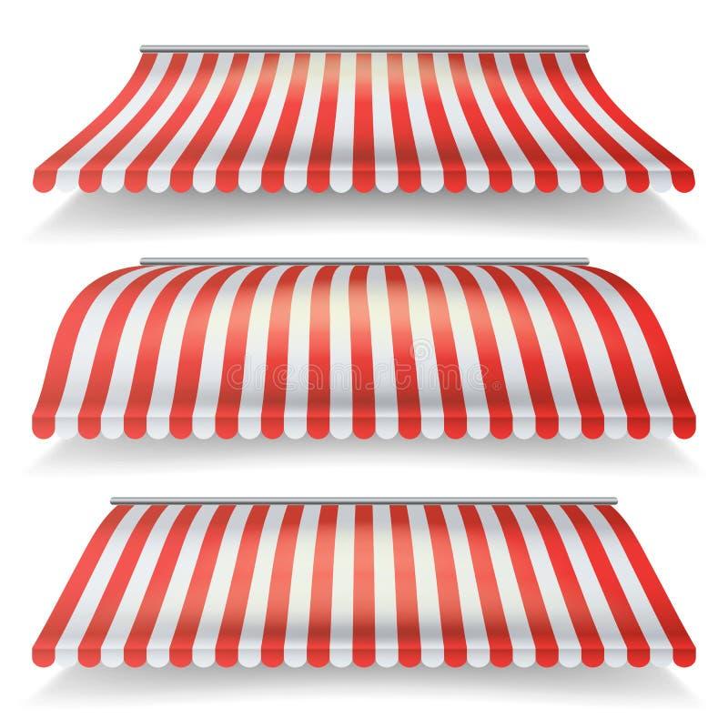 Κλασικά κόκκινο και λευκό Awning το διανυσματικό σύνολο Ρεαλιστικό Awning καταστημάτων που απομονώνεται στην άσπρη απεικόνιση υπο ελεύθερη απεικόνιση δικαιώματος
