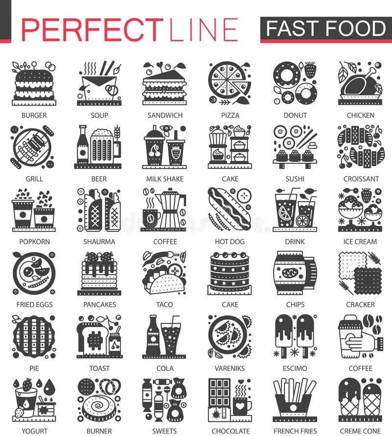 Κλασικά μαύρα μίνι σύμβολα έννοιας γρήγορου φαγητού Σύγχρονες διανυσματικές απεικονίσεις εικονογραμμάτων εικονιδίων καθορισμένες διανυσματική απεικόνιση