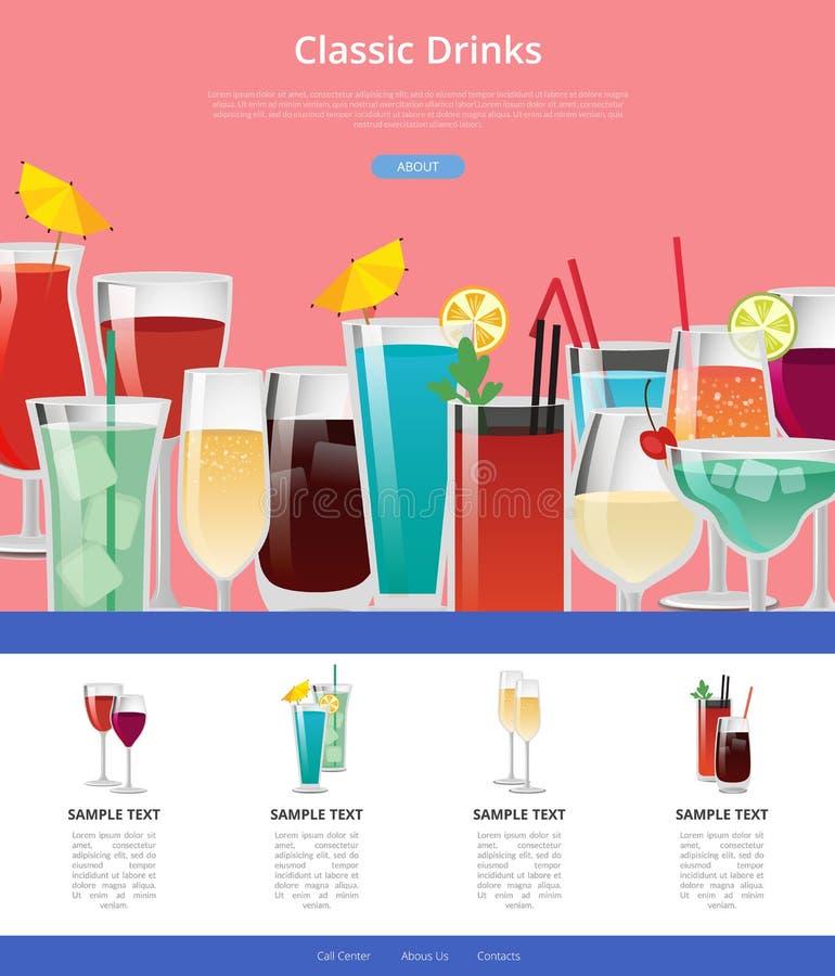Κλασική αφίσα Ιστού ποτών με τα δείγματα του οινοπνεύματος απεικόνιση αποθεμάτων