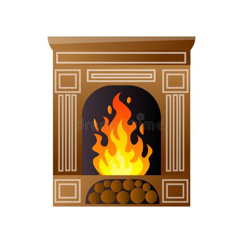 Κλασική εκλεκτής ποιότητας εστία πολυτέλειας με το κάψιμο της πυρκαγιάς και της ξύλινης θέσης διανυσματική απεικόνιση