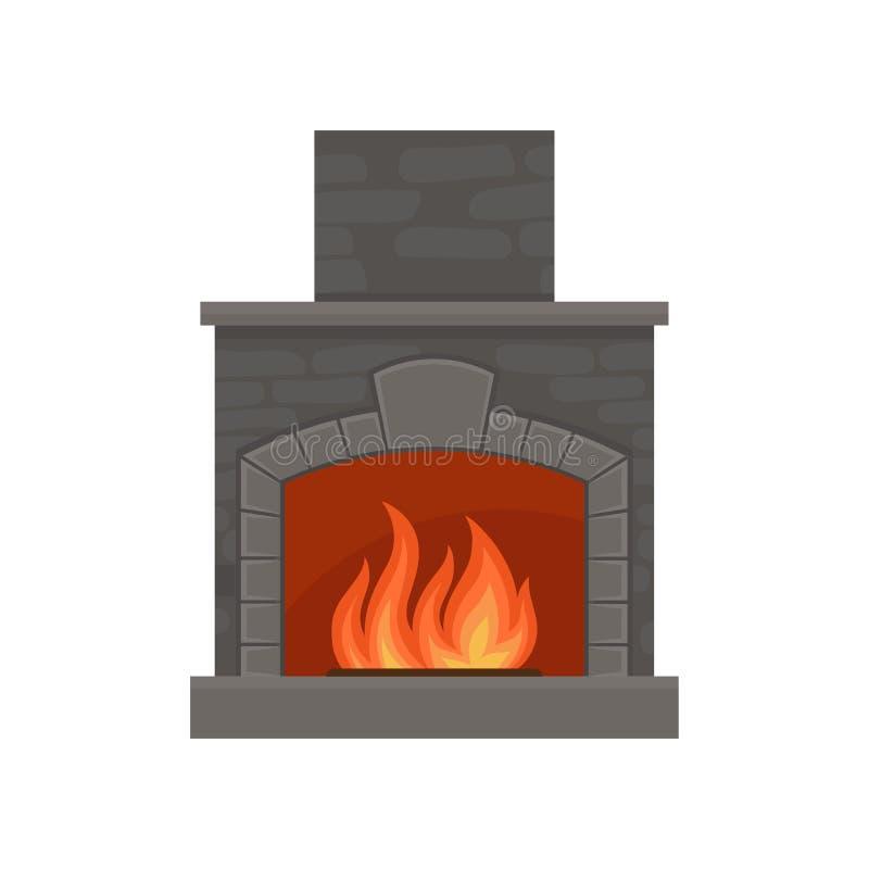 Κλασική καίγοντας εστία φιαγμένη από διανυσματική απεικόνιση τούβλων σε ένα άσπρο υπόβαθρο απεικόνιση αποθεμάτων